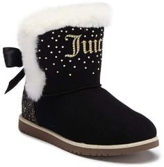 Juicy Couture Burbank Rhinestone Faux Fur Logo Boot Toddler