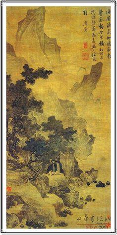 Master works, landscape, scenery, ink painting, mountain village, forest, pine, poem, Chinese master Tang Bohu's ink painting. Beautiful scenery and poetry, painting, Chinese traditional ink painting. The yellow background, Pine Mountain,Μάστερς, το τοπίο, το τοπίο, το μελάνι, χωριό, το δάσος, πεύκα, στίχος, κινέζο δάσκαλο τον πίνακα.όμορφη και ποιητική πίνακα, την Κίνα, το τοπίο, παραδοσιακά μελάνι. κίτρινο φόντο, πεύκα, τα βουνά