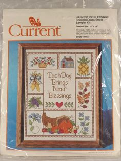 "Harvest of Blessings Current Counted Cross Stitch Kit 1989 Verse 11""x14"" Unused"