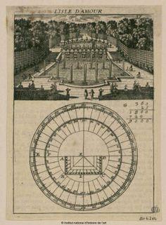 Cliquez pour accéder à la visionneuse Versailles, Aerial View, 17th Century, Geometry, Fountain, Vintage World Maps, Gardens, France, Explore