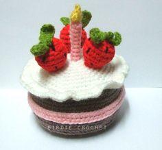 Strawberry Birthday Cake 6.1' - Handmade Amigurumi Crochet Cake Home Decor Birthday Gift Baby Shower Toy