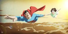 Drawing of Superman flying with Lois Lane  #Jealous