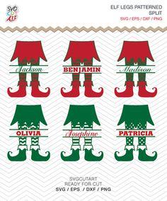 Elf Legs Split Patterned Christmas Frame DXF SVG EPS by SvgCutArt