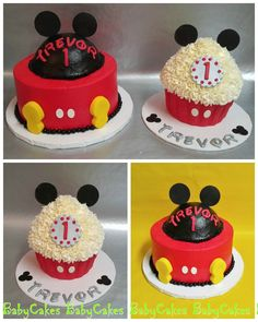 """Mickey Mouse themed 1st birthday cake with 10"""" tall coordinating cupcake smash cake."""