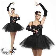9f17b57e208c Gótico Adulto Mujer Bailarina Negro Cisne Tutú Fallen Ángel Disfraz