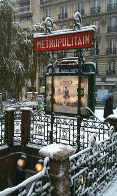 Metro Entrance on a snowy day, Paris, France