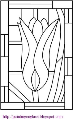 Free Stained Glass Pattern:Tulip ~ painting on glass by misty Stained Glass Quilt, Stained Glass Flowers, Faux Stained Glass, Stained Glass Designs, Stained Glass Projects, Stained Glass Patterns, Mosaic Patterns, Mosaic Art, Mosaic Glass