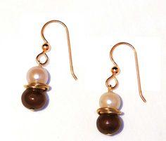 Chocolate Pearl 14K Earrings by PearlGemstoneJewelry on Etsy