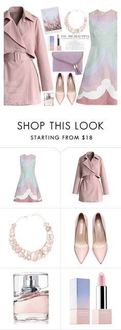 """Pretty Pastel Trench Coats"" by sebi86 ❤ liked on Polyvore featuring Valentino, Chicwish, BOSS Hugo Boss, Sephora Collection, Henri Bendel, women's clothing, women's fashion, women, female and woman"