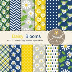 Daisy Digital Papers Flower for Wedding by JennyLDesignsShop