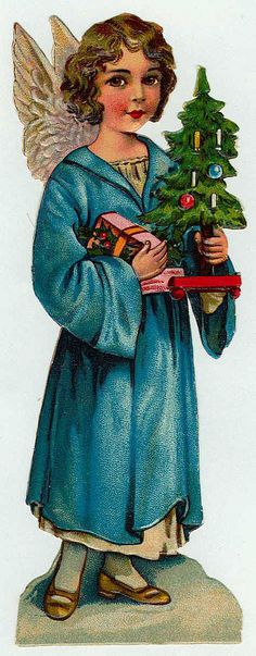 Vintage angel holding a Christmas tree
