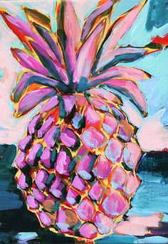 pineapple painting my Megan Carn. Art And Illustration, Painting Inspiration, Art Inspo, Design Inspiration, Tableau Pop Art, Kunst Inspo, Artsy Fartsy, Painting & Drawing, Love Art