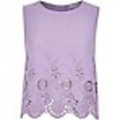 Purple crepe embroidered hem tank top #top #women #covetme