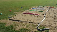 Long jump pit with hoops designating take-off area. Long Jump, High Jump, Track And Field Events, Track Field, Track Drill, Friday Workout, Fitness Friday, Sand Pit, Pole Vault