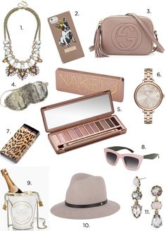 Gift Guide: Naked3 For your feminine friend, sister, mom, girlfriend, wife who loves rose gold and soft colors, our Naked3 gift guide is the map for you. Wearable day and night, these pieces are some of our favorites. 1. Crystal Feather Bib Necklace  2. Cotton Dog iPhone5/5s Case 3. Gucci Soho Bag 4. Faux Fur Sleep Mask 5. Naked3 Eyeshadow Palette 6. Marc by Marc Jacobs Watch 7. Leopard Matches 8. Glitter Cateye Sunglasses 9. Champagne Bucket Tote 10. Floppy Brim Fedora 11. Opal Hodgepodge…