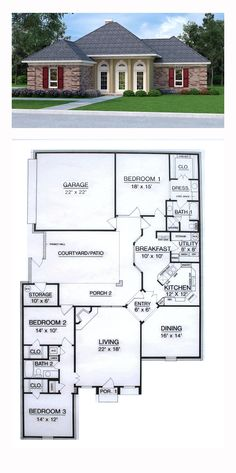 House Plan 76909 with 3 Bed, 2 Bath, 2 Car Garage Courtyard House Plans, House Floor Plans, Luxury House Plans, Sims House, Entry Foyer, Car Garage, Living Area, Building A House, Ali