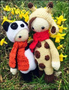 Mini panda and Ginny giraffe handmade by Pixie-Crafts www.pixie-crafts.com