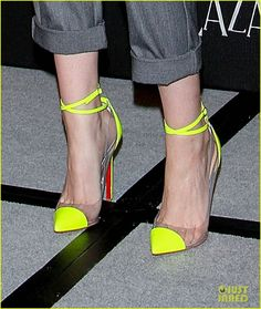 "Neon yellow Louboutin's, worn by Kristen Stewart at a promo event for ""Snow White and the Huntsman"""
