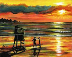 Seascape Summer Sunset Beach Lifeguard Surfing Silhouette Folk Art Painting