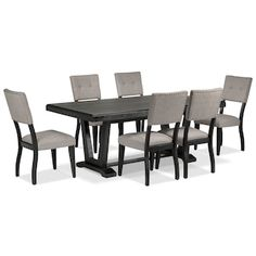 583f93fc29e Imari 7-Piece Dining Room Set - Black and Grey