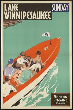 NH tourism posters | travel travel poster vintage new hampshire train
