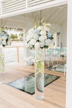 5 Reasons Why Sandals Jamaica is the PERFECT Destination Wedding Location - United With Love & Aisle Society | Alexis June Weddings | Tall Ceremony Flowers, Hydrangea Wedding Floral Decor | Unique Wedding Ceremony Flowers, Alternative to Alter Flowers