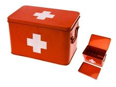 Amazon.com: Present Time Red with White Cross Metal Medicine Storage Box, Large: Home & Kitchen