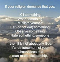 Religion is of the body, spirituality is of the soul. Stop confusing the two. If you look at your neighbor and say, 'Hey, you're suppose to do it this way.' You just practiced a religion and got disconnected from any source of 'higher power'. Atheist Quotes, Atheist Humor, Religious Quotes, Anti Religion, Les Religions, Thought Provoking, In This World, Christianity, Wisdom