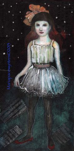 Firefly- Original mixed media painting by Maria Pace-Wynters