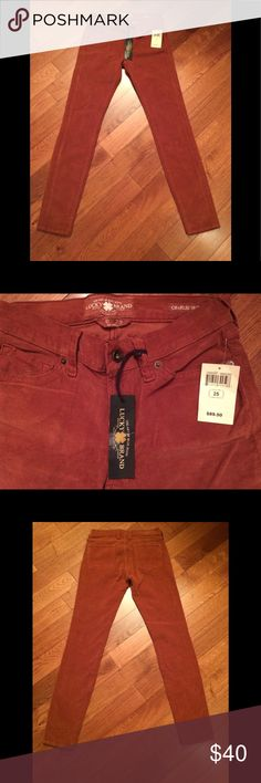 Lucky Brand Skinny Corduroy Pants Lucky Brand Corduroy Pants Charlie Skinny  Women's Size 25 Burnt Rust Type Color New With Tags Stretchy Fabric Super Soft! Lucky Brand Pants Skinny