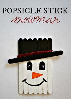 Popsicle Stick Snowman Craft! Super cute and easy Christmas craft.