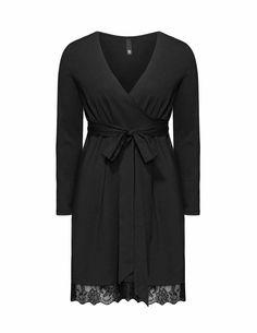 Manon Baptiste - Jersey-Wickelkleid mit Spitze in Schwarz