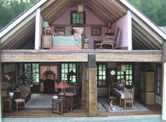 Susan's Miniatures (not me; a different Susan) Dollhouse Design, Vintage Dollhouse, Dollhouse Miniatures, Dollhouse Ideas, Miniature Rooms, Miniature Houses, Mini Houses, Avalon House, Personalised Photo Cards