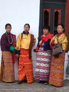 Bhutanese women wearing kiras