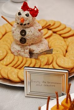 Cheese ball snowman(girl) for a winter party!