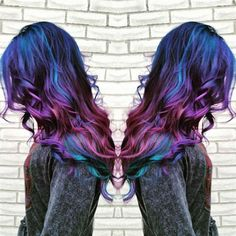 Wonderful Galaxy Hair Color with blue, purple and pink