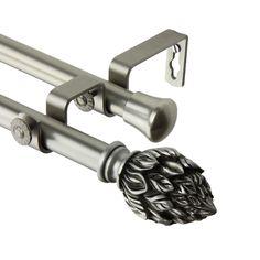 Rod Desyne Ember Double Curtain Rod 120-170 inch - Satin Nickel