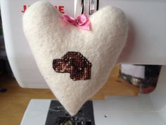 Hanging Fabric Heart hand embroidered with a Chocolate Labrador on Etsy, £8.50