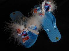 Frozen Flip Flops with white BOA feathers by GrandmasBowsonETSY, $20.00