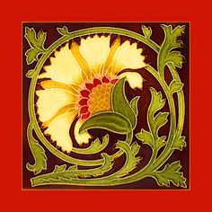 "Art Nouveau tile by Mintons China Works (1905-8). Courtesy Robert Smith, from his book ""Art Nouveau Tiles with Style"". Photoshopped by Catherine Hart."