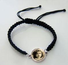 Black Braided Macrame Bracelet w/ Double Loop Round Picture Centerpiece Charm Kit