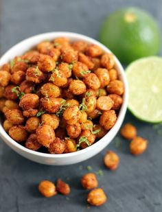 Pan-Fried Crispy Chickpeas with Lime! These would be fab on top of gazpacho or salads! (GF & Vegan.)