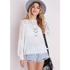 White Lace Patchwork Women Chiffon Blouse Long Sleeve 2016 New European Casual Fashion White Lace Stitching Chiffon Shirt S22082