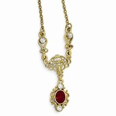 "NEW LADIES DOWNTON ABBEY LADIES 16""-19"" GOLDTONE RED CLEAR CRYSTAL NECKLACE #DOWNTONABBEY"