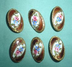 Set of 6 vintage antique champleve basse-taille enamel metal buttons. Sold in 2011