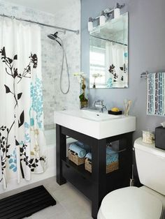 How To Make Up Small Diy Bathroom Design. I like these colors together.