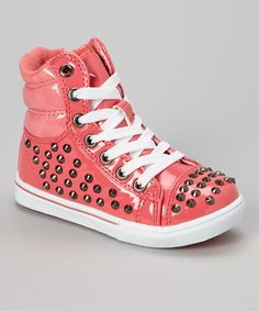 Take a look at this Coral Metallic Studded Connie Hi-Top Sneaker by COCO Jumbo on #zulily today!