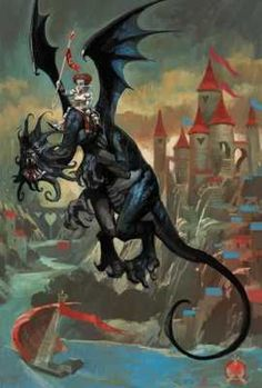 The Red Queen riding the Jabberwocky from Alice In Wonderland by artist and conceptual designer Dermot Power inspiration for kitchen ceiling Lewis Carroll, Fairy Tail, Dragons, Alice Book, Chesire Cat, Alice Madness, Were All Mad Here, Adventures In Wonderland, Red Queen