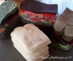 Learn how to make felted mittens from wool sweaters with fleece lining.