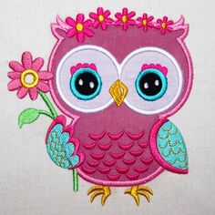 Nancy Owl Picking Flowers Applique Machine by LovesApplique